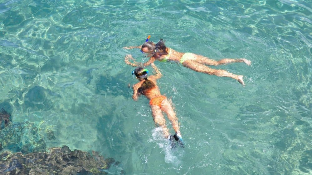 girls snorkeling